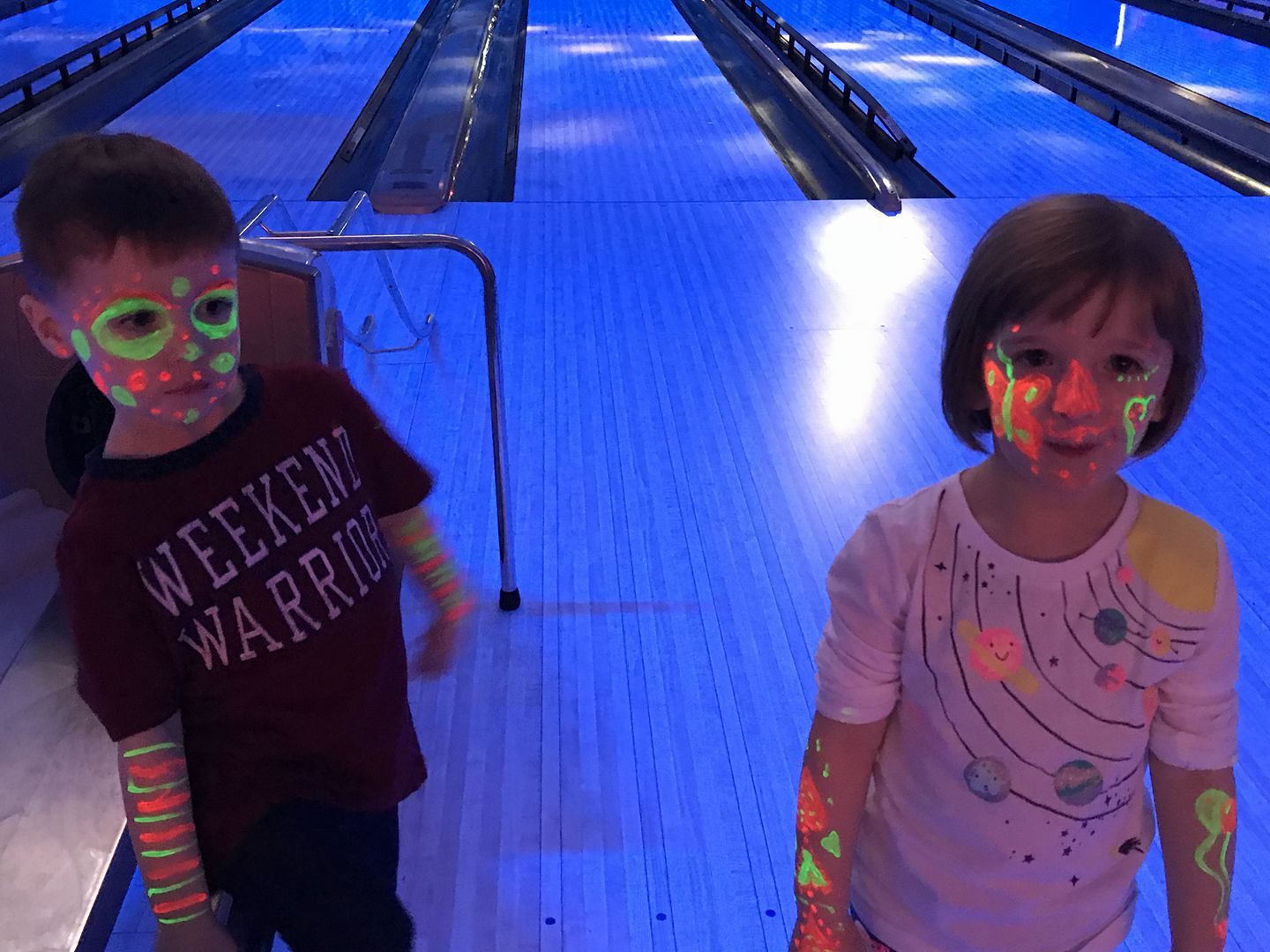 Glow bowling with the twins!