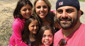 Joy Hajjar with Jasmine, Dhalia, Rose, and husband Elias.