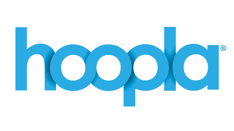 Hoopla, digital media service, logo.