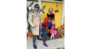 Assignment Editor Erin Marsh as Wonder Woman, husband Alex as Doc Ock, son Dexter (5) as Spider-Man, and daughter Camille (3) as Spider-Girl.