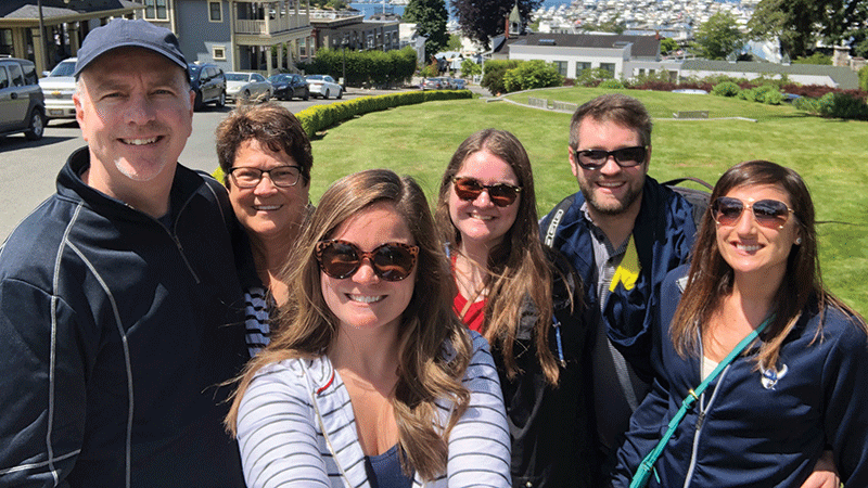 Jeff, Tracey, Molly, Jamie, Ryan Joyce and Nicole Ebersole in the San Juan Island