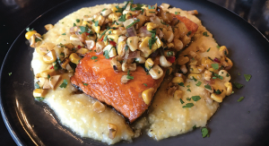 roasted salmon with creamy polenta and roasted corn salsa