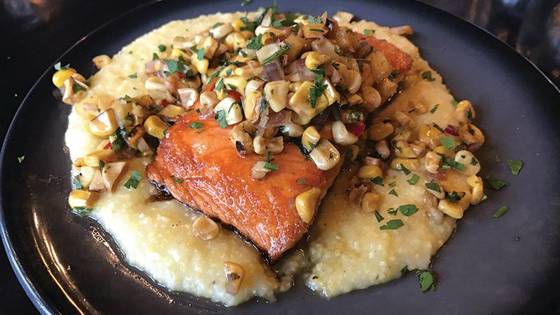 roasted salmon with creamy polenta and roasted corn salsa