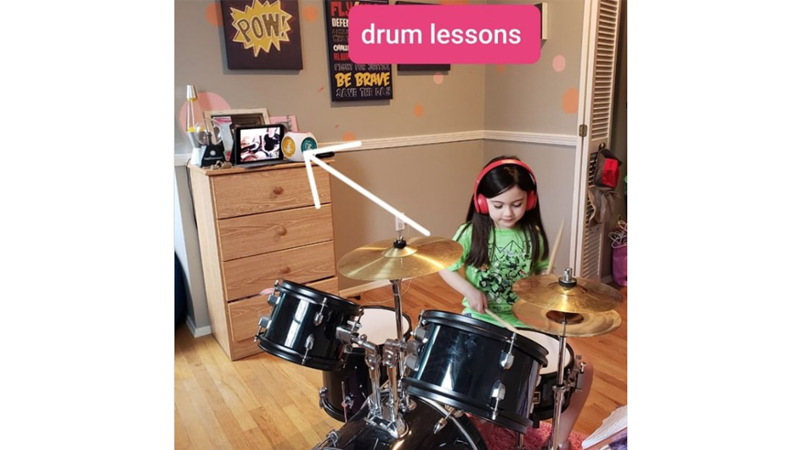 Luna, student of Scott Hafferkampon, on drums