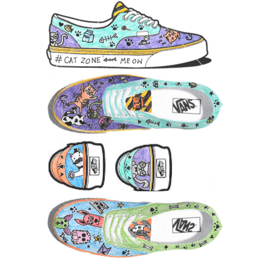 Winning Vans shoes design draawing